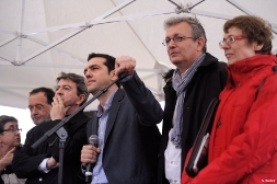 Alexis Tsipras de la coalition Syriza accueilli à Paris par le Front de Gauche