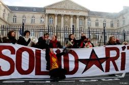 Soutien à Xavier Mathieu devant le Palais de Justice d'Amiens