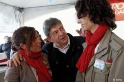 Jean-Luc Mélenchon avec des militants