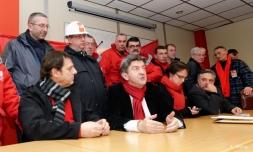 Avec des syndicalistes d'ArcelorMittal à Florange