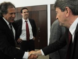 Avec Luis Almagro, ministre des Relations extérieures et Diego Cánepa, Premier Secrétaire de la Présidence.