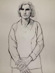 Portrait d'Emilienne Mopty, un dessin signé Ernest Pignon-Ernest