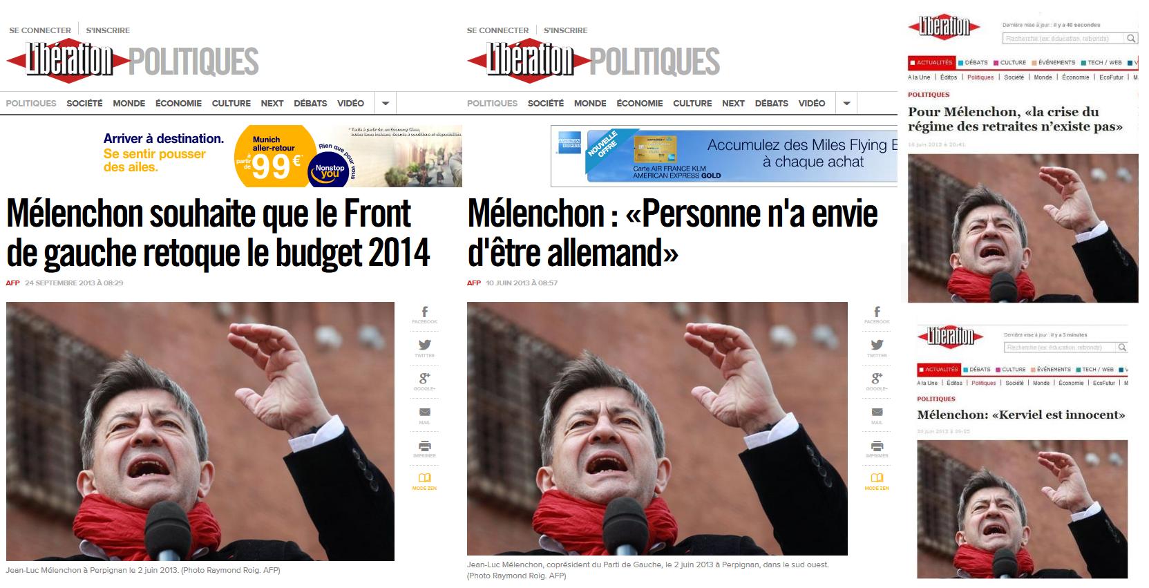 """En quatre mois, le journal """"Libération"""" a utilisé la même photographie pour illustrer quatre sujets différents, à savoir : la réforme du régime des retraites, l'affaire Kerviel, le budget 2014 et une déclaration de Jean-Luc Mélenchon sur l'Allemagne."""