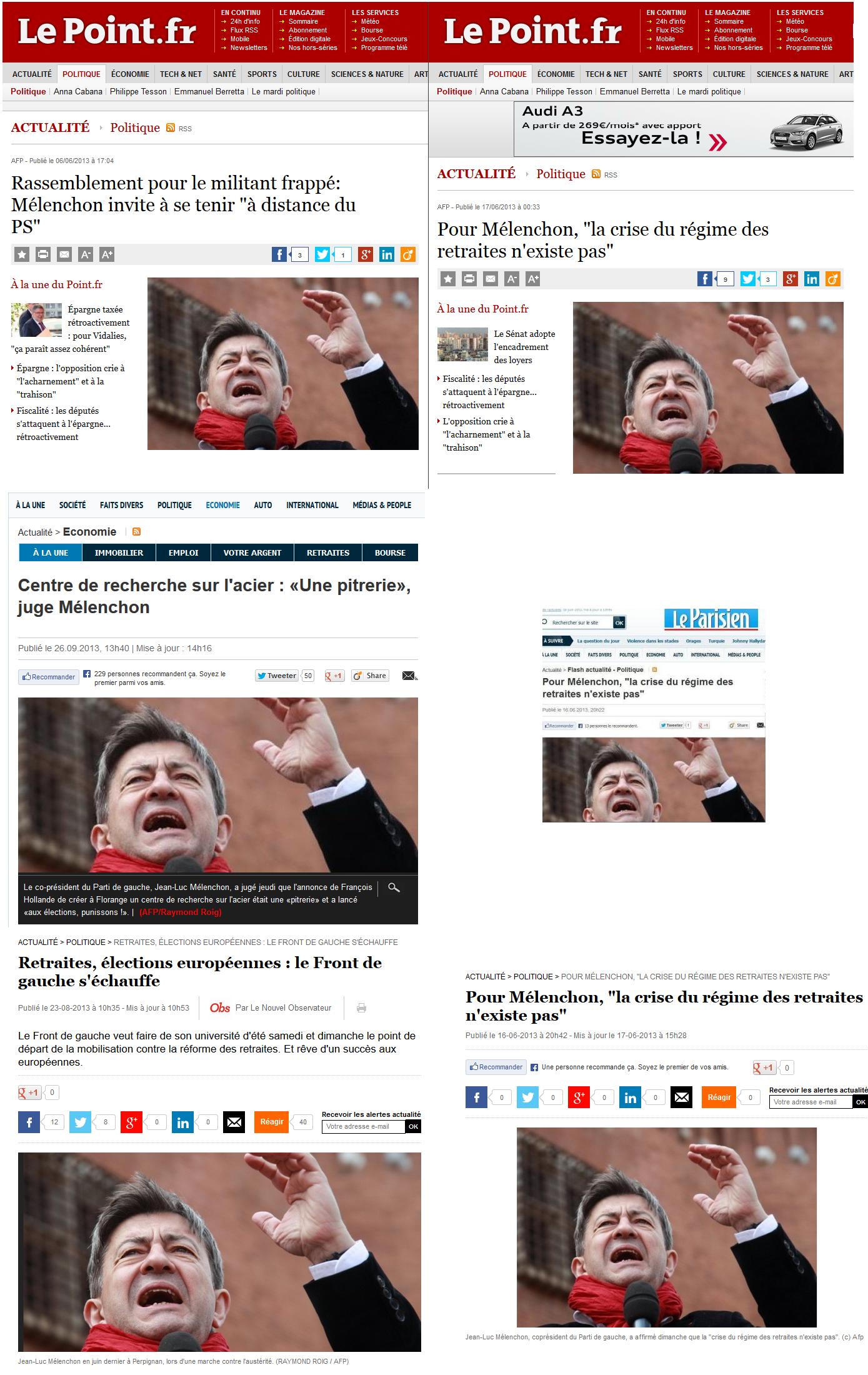 """Les journaux """"Le Point"""", """"Le Parisien"""" et """"Le Nouvel Observateur"""" ont chacun utilisé cette photographie au moins deux fois pour illustrer des sujets différents. Pour le seul mois de juin, ces trois journaux ont en tout utilisé quatre fois cette illustration."""