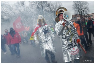 Manifestation des sidérurgistes d'ArcelorMittal, le 6 février 2013. Photos : Rémy Blang
