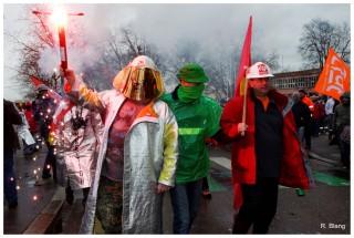Manifestation des sidérurgistes d'ArcelorMittal à Strasbourg le 6 février 2013. Photos : Rémy Blang